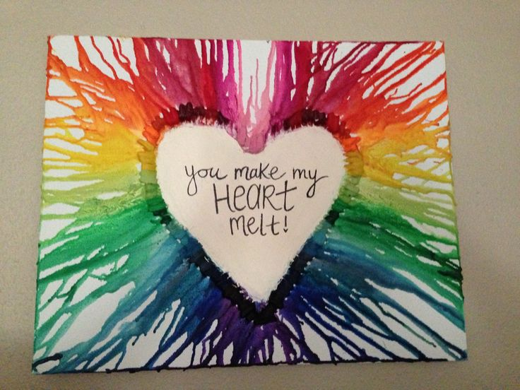 Crayon art!! Peel the crayons Hot glue the crayons on a canvas Blow dry it until it spreads! It's so fun and easy to do for everybody!