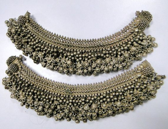 antique silver ethnic tribal old silver anklet by TRIBALEXPORT, $3499.00