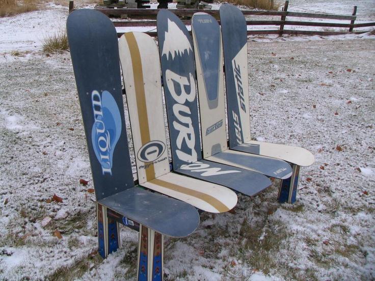 Custom made snowboard bench skiing pinterest for Skateboard chair plans