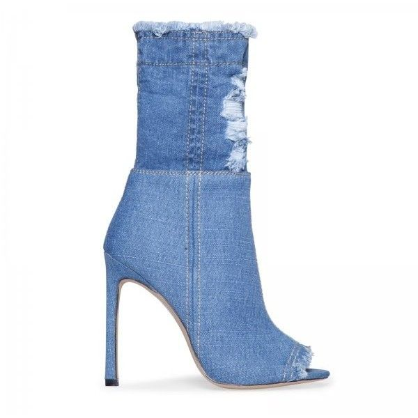 Roxie Peep Toe Ankle Boot In Mid Blue Denim ($49) ❤ liked on Polyvore featuring shoes, boots, ankle booties, peep-toe boots, blue bootie, denim booties, denim boots and blue ankle boots