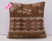 20x20 / 50x50 turkish kilim pillow decorative cushion cover throw cushion cover indoor native embroidery handknit mediterranean rug brown