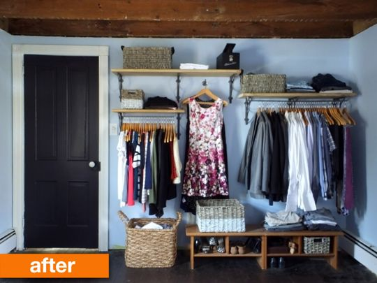 No-closet bedroom solution. I'd also really like an arrangement like this on the wall of a walk-in. Love the different hanging positions for different types of clothes, and varying shelf levels.