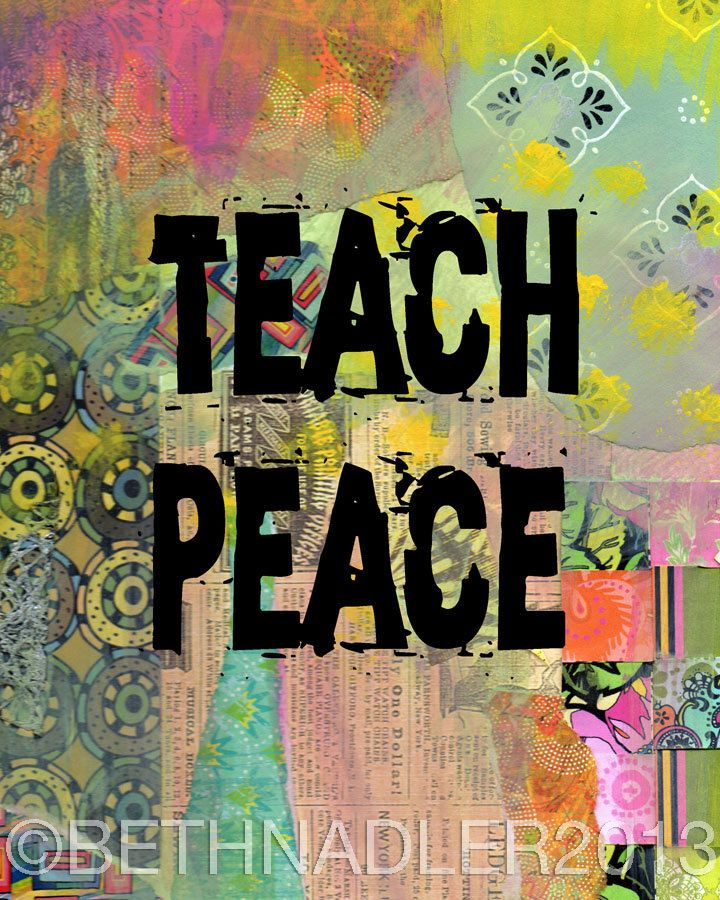 Teach+Peace+Inspirational+Quote+Collage+Wall+Art+by+BethNadlerArt,+$15.00