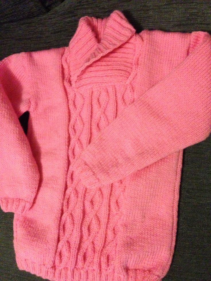 Slightly larger, and pink, see previous post for smaller blue DK cable sweater