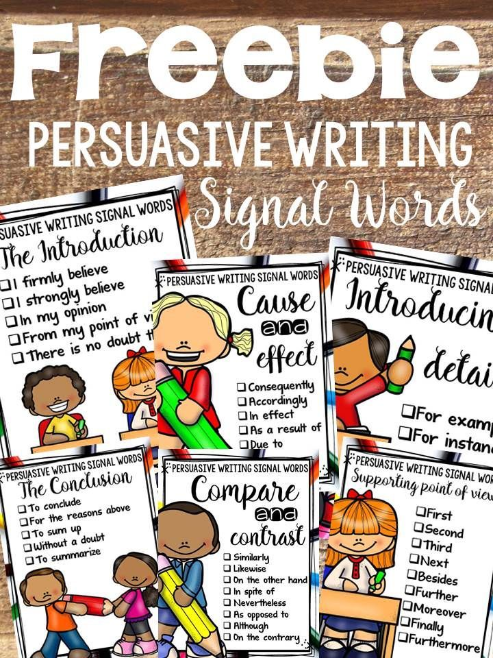 These posters on signal words will be helpful if your students are writing an Opinion or a Persuasive essay.  https://www.teacherspayteachers.com/Product/PERSUASIVEOPINION-WRITING-POSTERS-FREEBIE-2689226