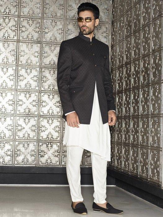 Black White Two Piece Indo Western, black, white, silk, groom, mens fashion, wedding, party