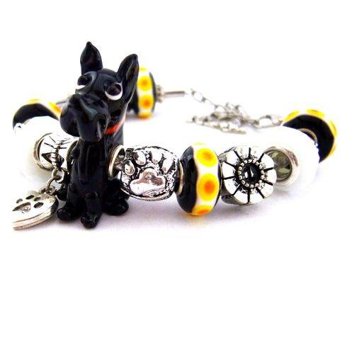 I love my DOG! - fekete fehér és sárga karkötő pandora stílusban kutyásoknak (ButterflyJew) - Meska.hu