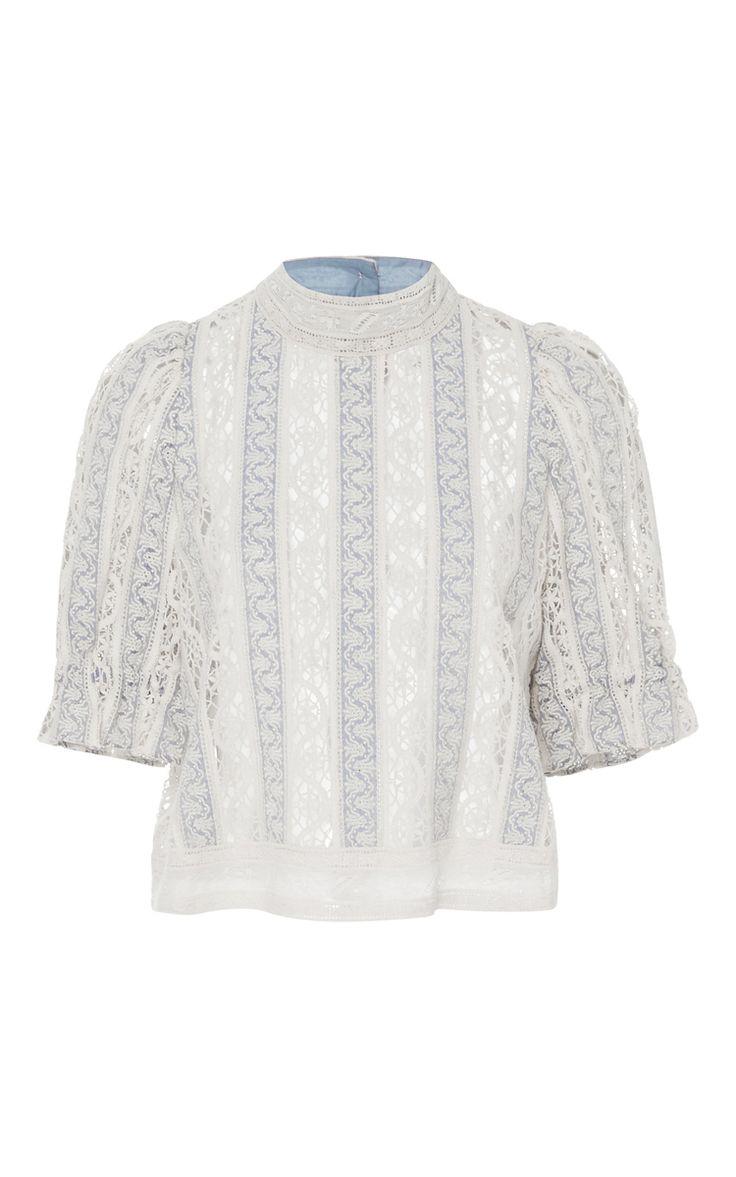 Column Crochet Short Sleeve Top by SEA Now Available on Moda Operandi