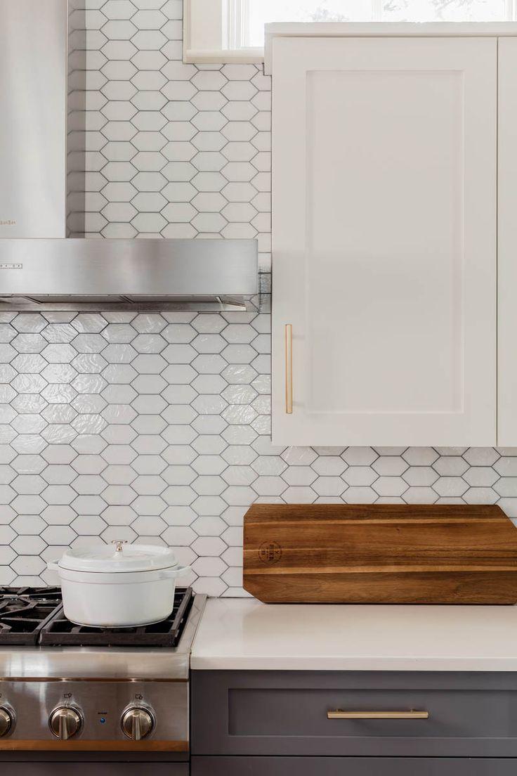 avon hill cambridge elms interior design kitchen hexagon backsplash and brass hardware