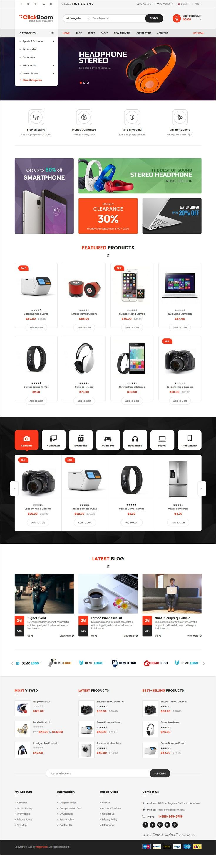 ClickBoom is a beautifully design #Magento 2 theme for stunning #digital #shop eCommerce website with 5 different homepage layouts download now➩ https://themeforest.net/item/clickboom-responsive-magento-2-theme-for-digitalfashion-online-shop/18482189?ref=Datasata
