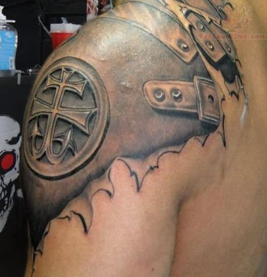 Upper Shoulder Tattoos for Men | armor-tattoo-on-left-upper-shoulder.jpg