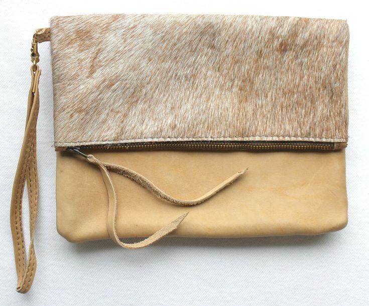 CHIC CLUTCH - in cowfur or goatfur & leather