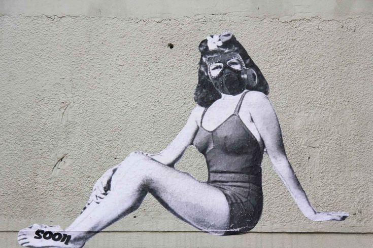 Beauty in Gas Mask - Street Art by Soon in Berlin