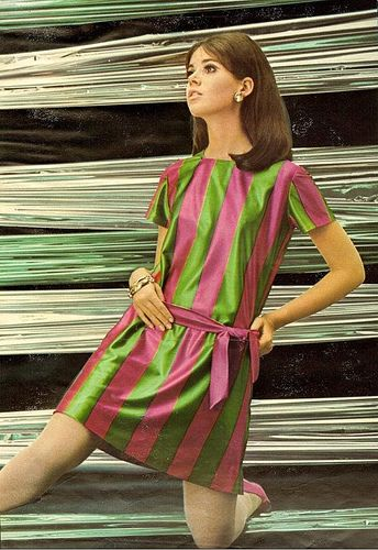 Colleen Corby in Mini Shift -Pink and Green 1960s
