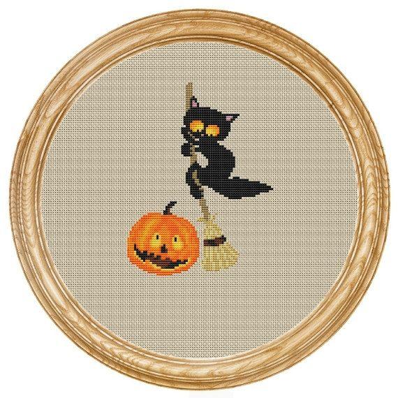 Cross Stitch Pattern PDF halloween cat with pumpkins DD0182