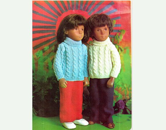 PDF Genuine Vintage SASHA Doll his and hers Aran Cabled Jumper and Trousers matching Set Knitting Pattern  Rarex