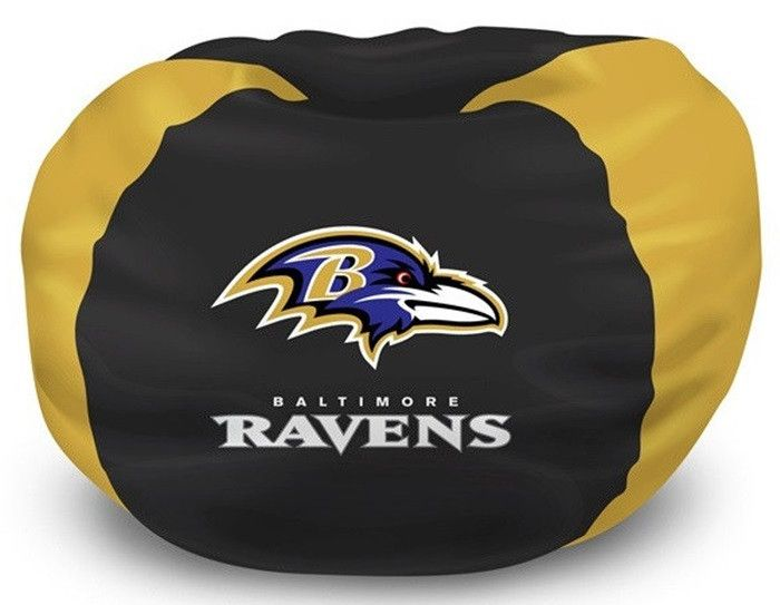 Kids NFL Baltimore Ravens Bean Bag Chair Is Perfect For Bedroom Living Room Or Any Has A Soft Comfortable Feel That Contours To The Fit You