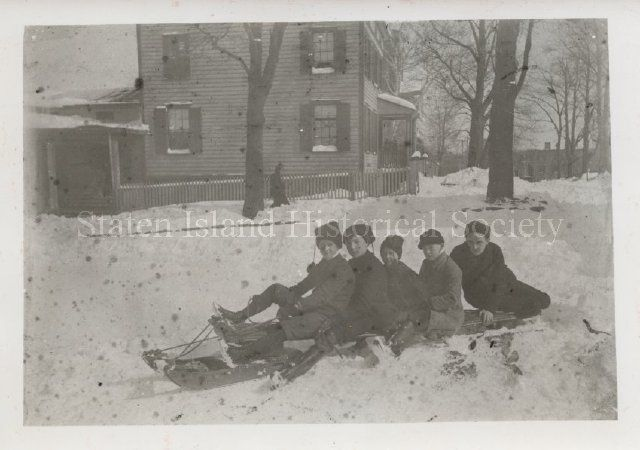 Image of PH01.1246, Print, Photographic: Boys on bobsled, photo by Barton, ca. 1898