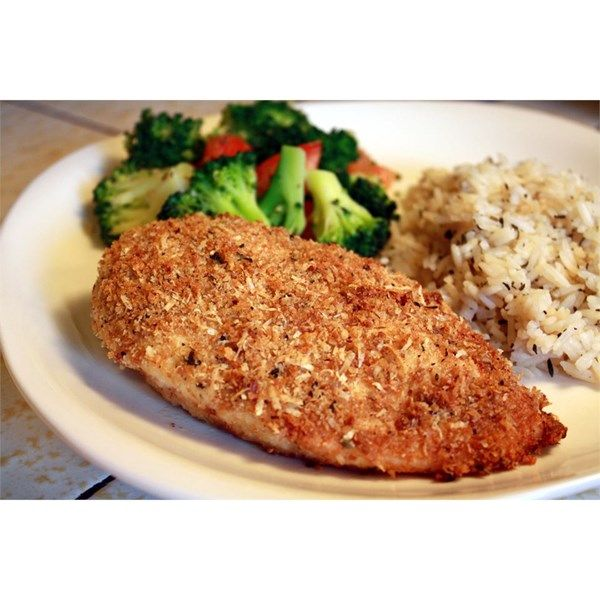 """Garlic Chicken   """"Simple to make, just dip and bake! Garlicky goodness in a breaded chicken dish. Yum!"""""""