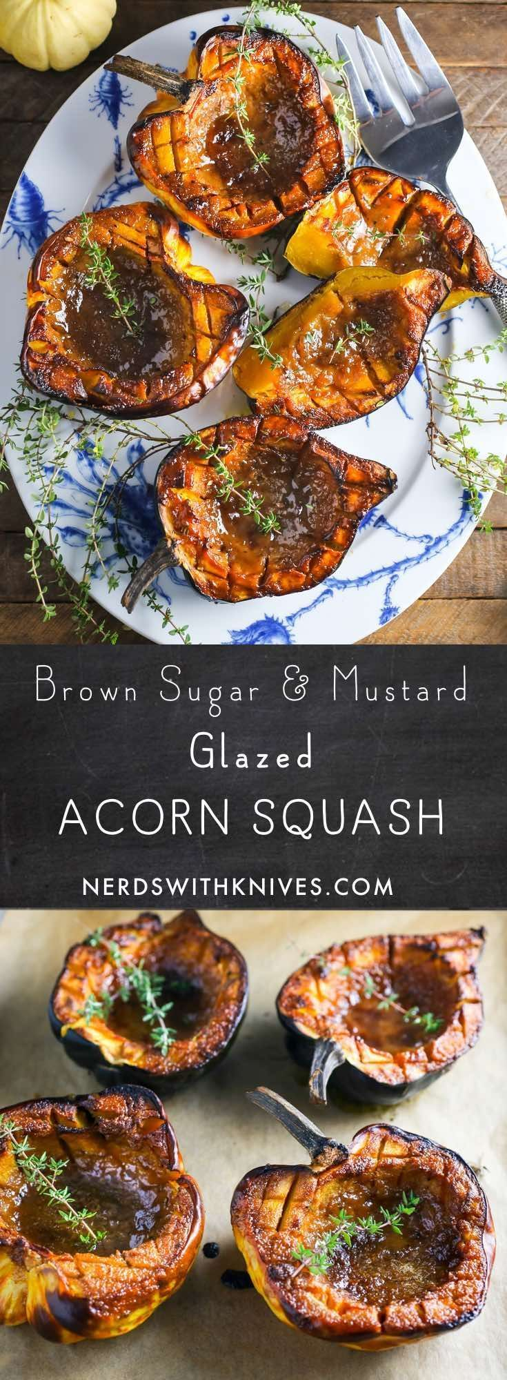 Brown Sugar and Mustard Glazed Acorn Squash. Made on the grill