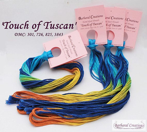 Hand dyed cotton thread for cross stitch point de croix