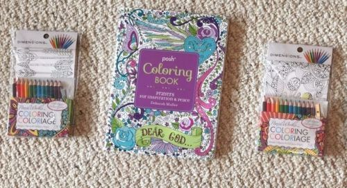 "Lot Of 3 New Adult Coloring Items   (1) Posh Coloring Book ""Prayers for inspiration & Peace"",  Book is filled with inspirational quotes, Bible Verses, with intricate floral and paisley designs etc.   (2) Pencil Works Coloring Post/Art Cards complete with color pencils and sharpener.    Comes ""Inspirational"" themed designs with inspiring quotes,   accented with intricate floral designs.  And with 8 different ""Hipster"" themed designs with arrows, camera, coffee cup,   , etc"