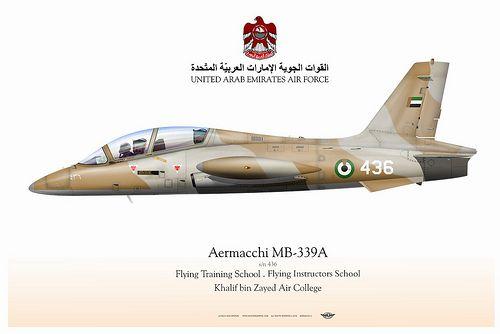 MB-339 UAE    UNITED ARAB EMIRATES AIR FORCE . القوات الجوية الإمارات العربيّة المتّحدة   Flying Training School . Flying Instructors School   Khalif bin Zayed Air College  Manufacturer: Aermacchi  Model: MB-339A   Serial s/n: 436