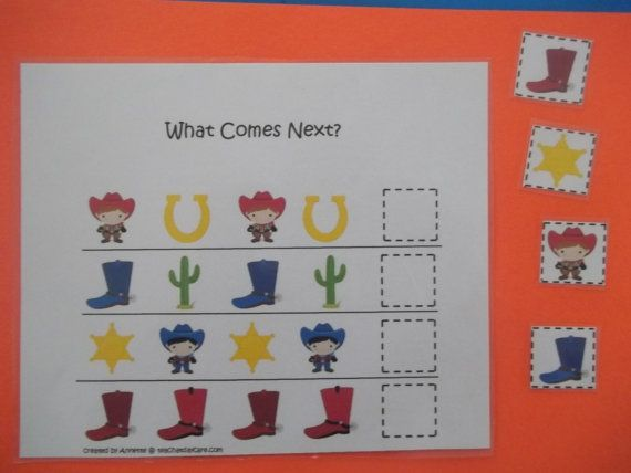 Wild West themed preschool educational game.  What Comes Next learning game.