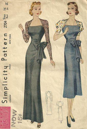 Simplicity 2704; Vintage 1930s Evening Dress