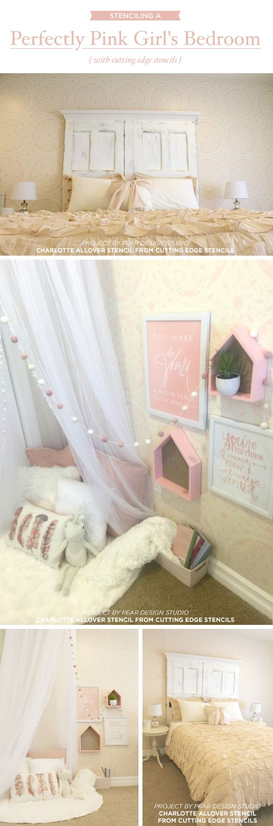 330 best girls room stencils decor images on pinterest cutting edge stencils shares a diy pink and white stenciled girls bedroom using the charlotte allover lace wall pattern amipublicfo Images
