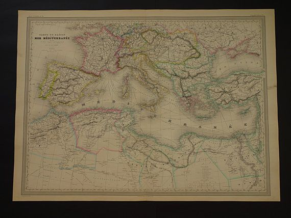 ITALY old map LARGE 1866 beautiful hand by DecorativePrints