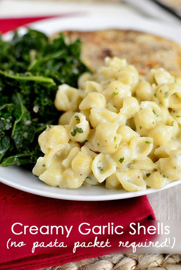 Creamy Garlic Shells is an easy pasta side dish. No store bought pouch required