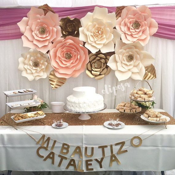 8 pc Giant Paper Flowers backdrop candy buffet by ShopOliposa