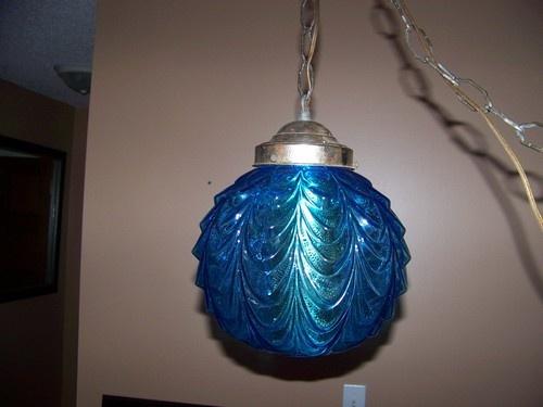 Details About Vintage Amber Glass Hanging Swag Globe