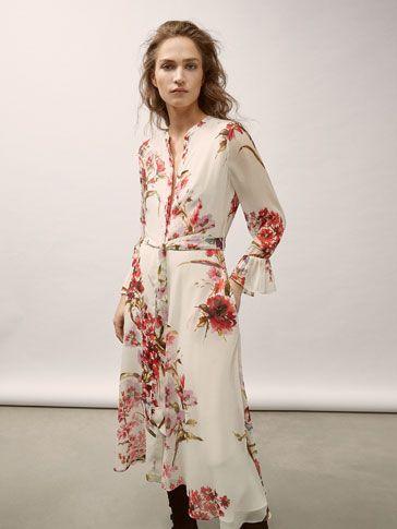 Vestido blanco flores massimo dutti