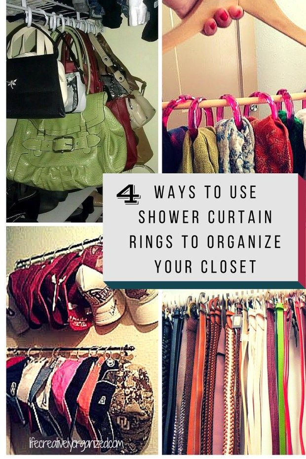 You cannot beat 12 shower curtain rings for a dollar, and they are so versatile! Use them to re-organize your closet.