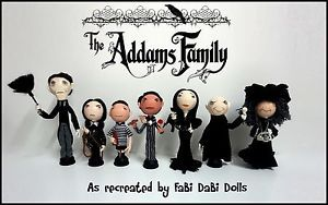 Addams Family full family peg doll set from FaBi DaBi Dolls