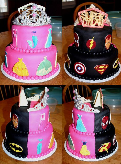 Very awesome idea for a brother and sister cake. Definitely storing that in my memory for this birthday-filled December!    (Princess/Superhero Cake by plymouthcakery, via Flickr)