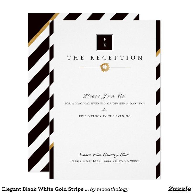 Elegant Black White Gold Stripe Wedding Reception