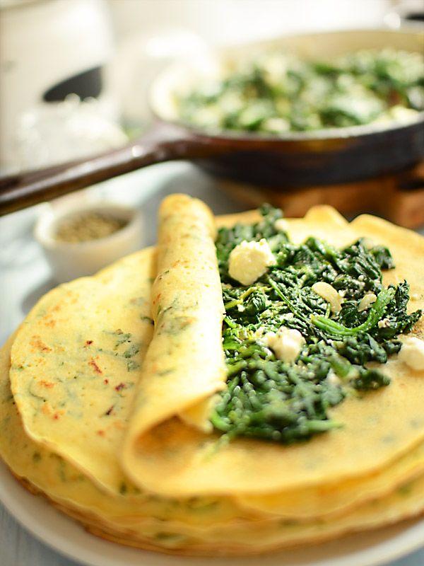 Zielono-żółte+naleśniki+ze+szpinakiem+i+fetą:+Zielono-żółte+naleśniki+ze+szpinakiem+i+fetą+są+lekkie+i+smakowite.+Idealne...