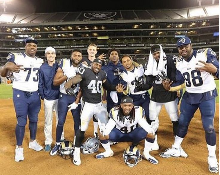 9 Former Auburn Players Took A Cool Photo After Rams-Raiders Preseason Game - August, 2015