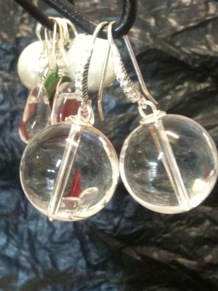 Orecchini In Argento 925/°°° e Cristallo di Rocca (Quarzo). Earrings in Silver 925 / ° ° ° and rock crystal (quartz).