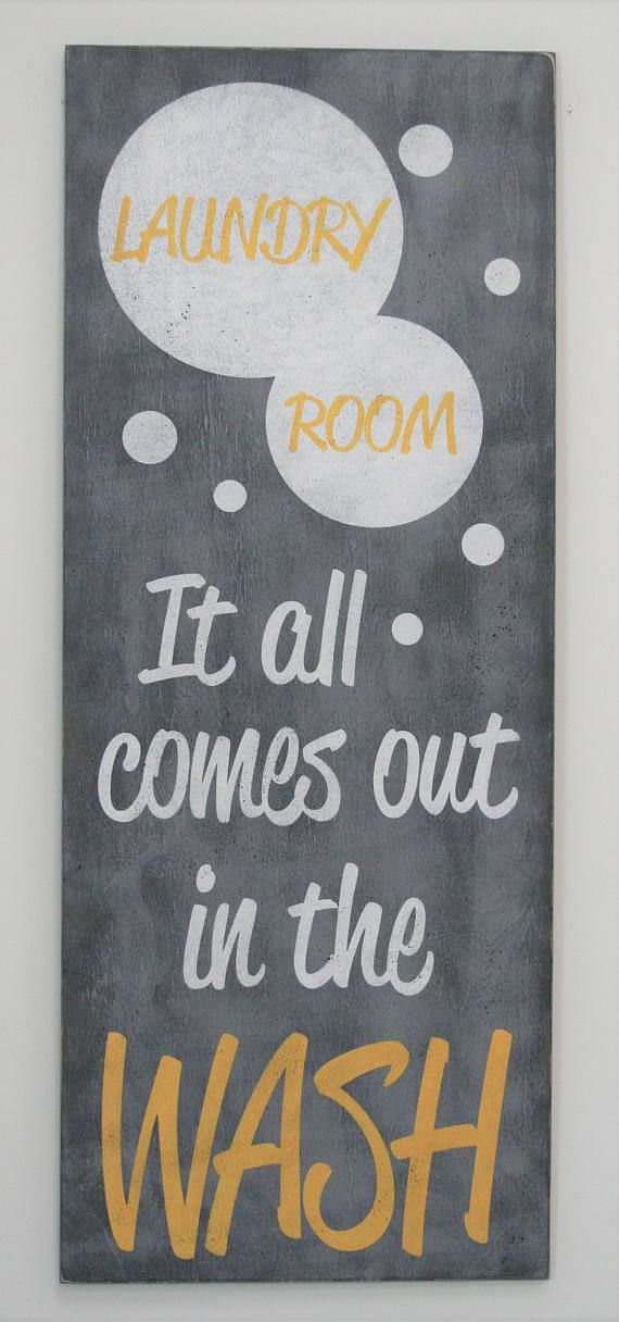 It All Comes Out In The Wash Laundry Sign Distressed Wood Sign