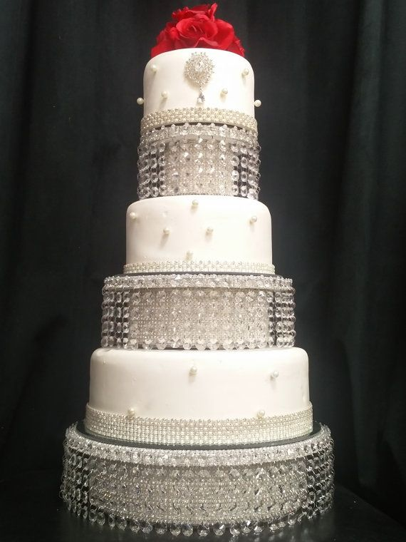 Crystal Cake Stand Faux Crystal Tiered Stacked Separators Etsy Crystal Cake Stand Crystal Cake Wedding Columns