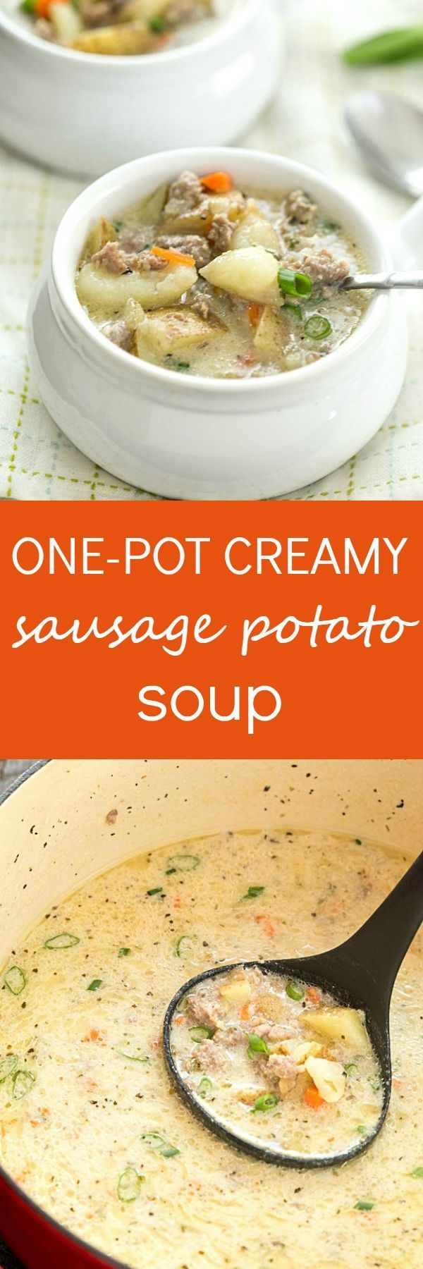 One-Pot Creamy Sausage and Potato Soup Recipe - So easy with hardly any prep, besides removing the casing from the sausage, with big flavor! Make it in the dutch oven or even in a crockpot. So creamy and not made with Velveeta!