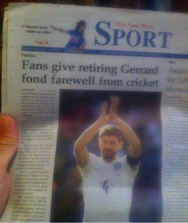 A Vietnamese Newspaper Thinks Liverpool's Steven Gerrard Quit The England Cricket Team [Picture]