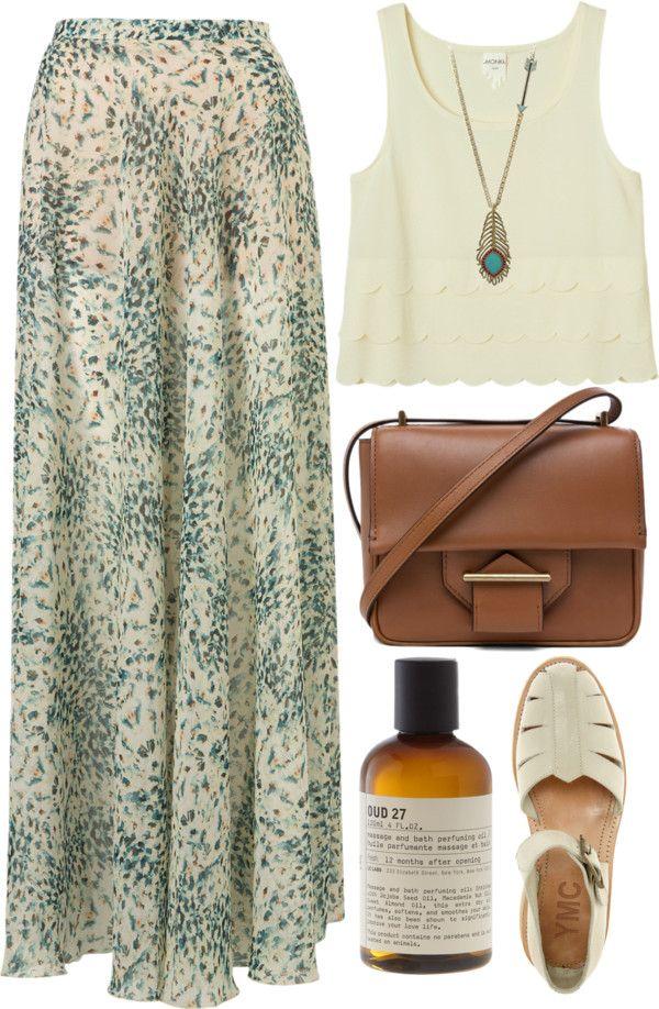 Maxi Skirt+White Tanktop+Accessories