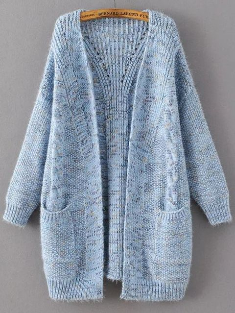 29$ Watch now - http://dih8l.justgood.pw/go.php?t=7848 - Blue Marled Knit Long Sweater Coat With Pocket 29$