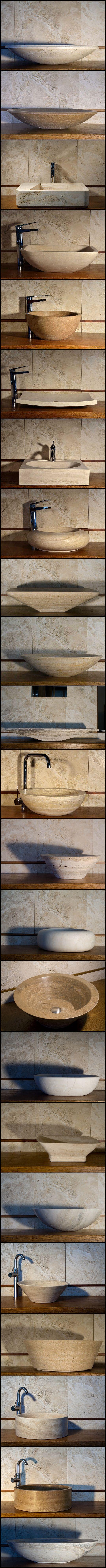 Sinks, sinks, sinks!!    Travertine sinks by Pietre di Rapolano