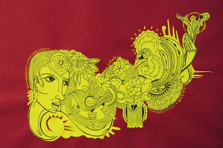 Art Spirit Místical  Caneta nankin sobre papel amarelo depois recortado para o papel vermelho com alguns detalhes em tinta guache.